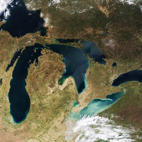 satellite image of Great Lakes